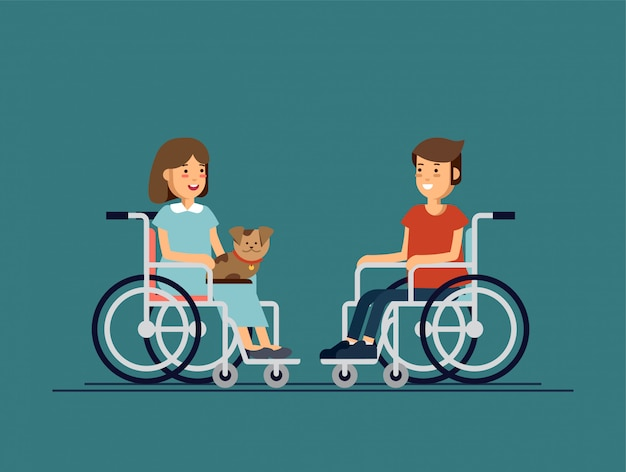 Cute disabled boy and girl kid sitting in a wheelchair and keep the puppy on one's knees. handicapped person.