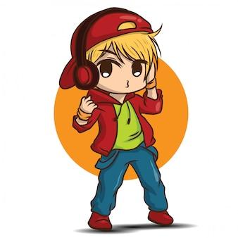 Cute disc jockey cartoon., job concept.