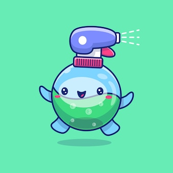 Cute disinfectant cartoon   icon illustration. healthy mascot character. health and medical icon concept isolated