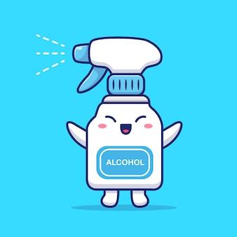 Cute disinfectant cartoon   icon illustration.
