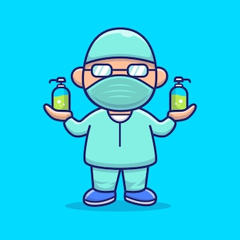 Cute disinfectant man icon illustration. corona mascot cartoon character. person icon concept isolated