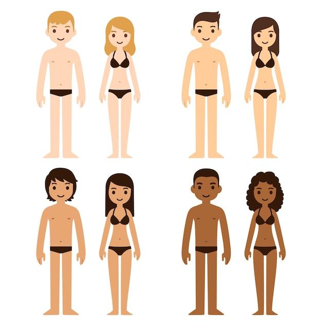 속옷에 귀여운 다양한 남녀. 다른 피부 색조, 그림의 만화 사람들.