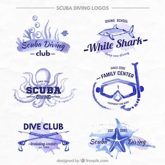 Cute diving badges in watercolor effect