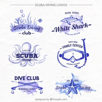 Cute diving badges in watercolor effect