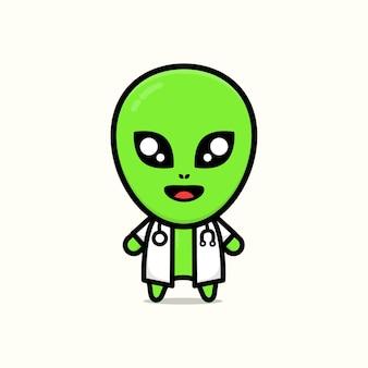 Cute doctor alien cartoon illustration