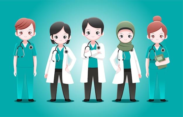 귀여운 의사와 간호사 디자인