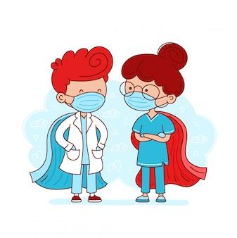 かわいい医師と看護師の医療マスクとスーパーヒーローのケープ。漫画キャラフラットラインイラスト。スーパーヒーロー医療healtcare労働者の概念。白い背景で隔離