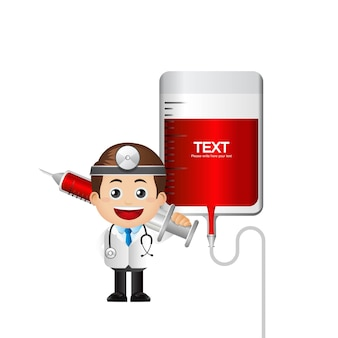 Cute doctor and blood transfusion
