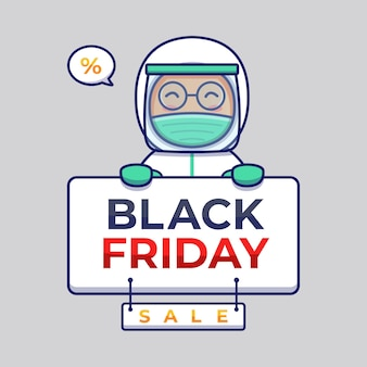 Cute doctor carrying black friday sale banner