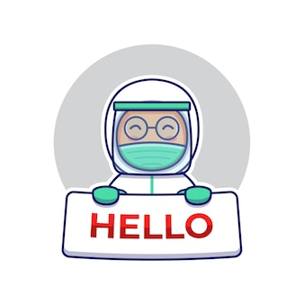 Cute doctor carrying hello card