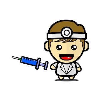 Cute doctor character with vaccine shot premium vector