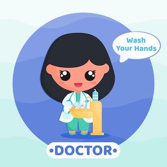 바이러스 만화 삽화를 방지하기 위해 손 씻기 캠페인을 하는 귀여운 의사