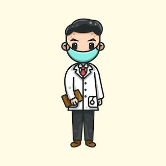 Милый доктор для наклейки с логотипом и изображением символа символа.