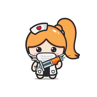 かわいい医者の女の子のマスコット