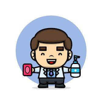 石鹸と消毒剤を保持しているかわいい医者