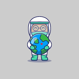 惑星地球を抱き締めるかわいい医者