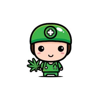 かわいい医者はマリファナを保持しています