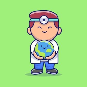 Cute doctor save cute earth icon illustration. corona mascot cartoon character. person icon concept isolated Premium Vector