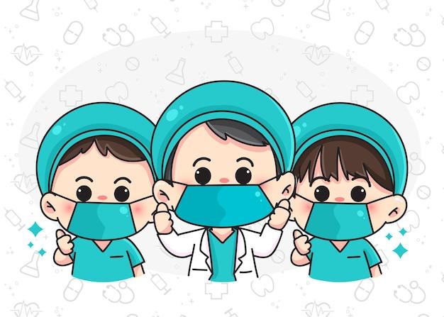 귀여운 의사 팀 만화 손으로 그린 만화 예술 그림