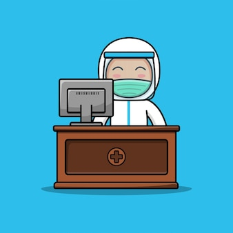 방호복을 입은 귀여운 의사가 컴퓨터 앞에서 일하고 있습니다.