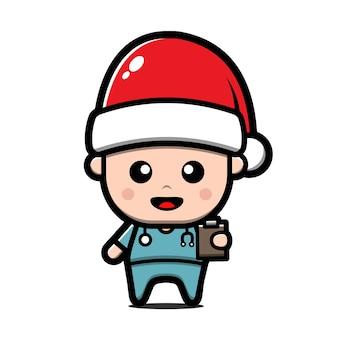 Милый доктор носить иллюстрации шаржа санта-клауса. рождественская концепция