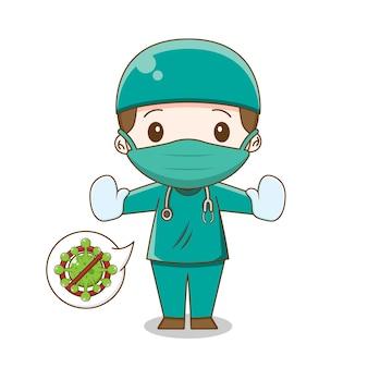 고립 된 수술 복 그림을 입고 귀여운 의사