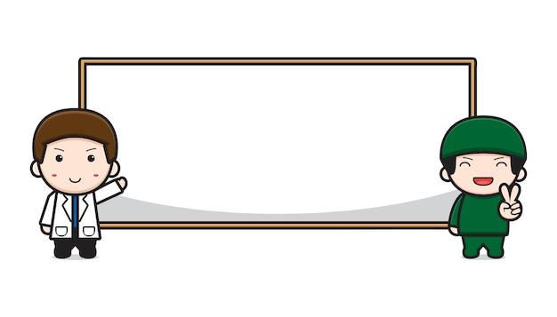 빈 보드 배너 만화 아이콘 벡터 일러스트와 함께 귀여운 의사. 흰색 절연 디자인입니다. 플랫 만화 스타일입니다.