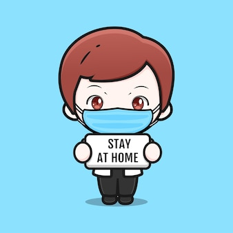 Cute doctor with mask and stay at home sign