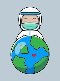 防護服と惑星地球を持つかわいい医者