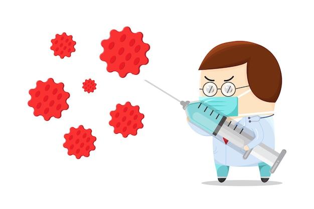 주사기와 싸우는 바이러스를 가진 귀여운 의사