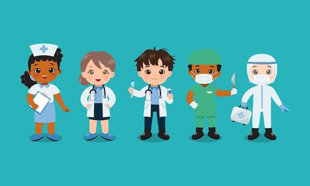 귀여운 의사와 간호사 의료 팀 평면 벡터 만화 디자인