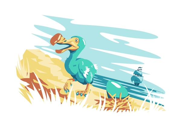 Cute dodo bird with egg vector illustration golden coastline and ocean view with ship flat style wild animal and nature landscape concept isolated