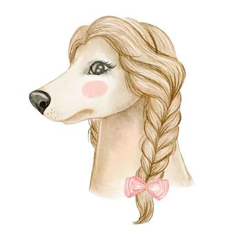 かわいい犬アフガンハウンド、髪の編みリボン