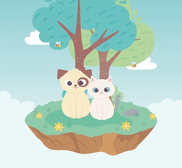 귀여운 강아지와 고양이 가축 만화 서 초원 나무와 꽃 자연
