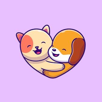 귀여운 강아지와 고양이 로고 만화 벡터 아이콘 그림. 동물 사랑 아이콘 개념 절연 프리미엄 벡터입니다. 플랫 만화 스타일