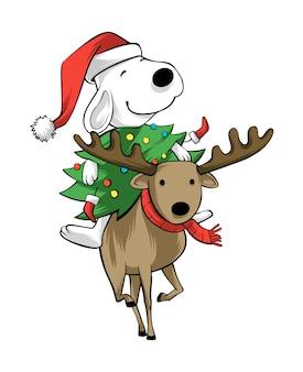 クリスマスを祝うかわいい犬と鹿