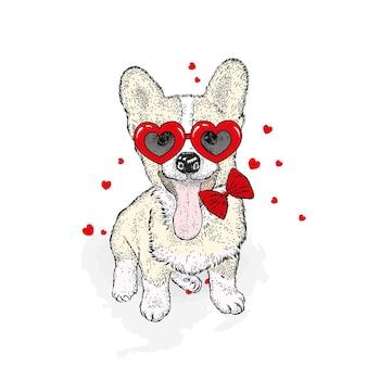 かわいい犬と心バレンタインデーは白で隔離
