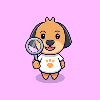 かわいい犬と拡大鏡の漫画アイコンイラスト。フラット漫画スタイル