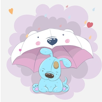 Cute dog and umbrella cartoon hand drawn