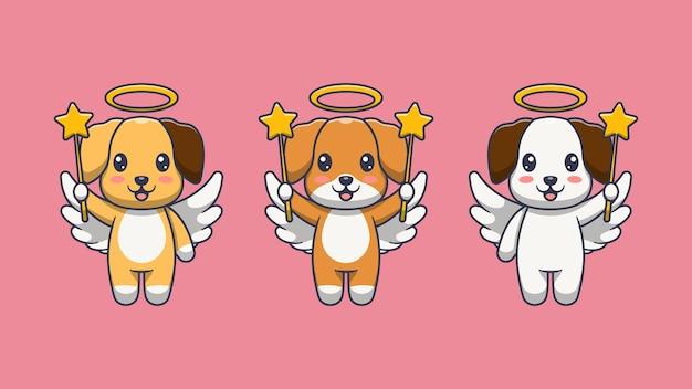 Милая собака ангел иллюстрации шаржа