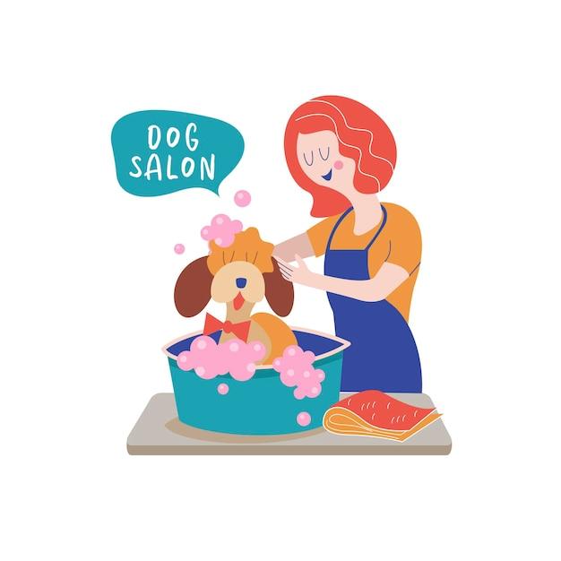 グルーマーサロンでかわいい犬。女性が犬を洗う。犬のグルーミングの概念。手描きのベクトル図です。ペットのヘアサロン、スタイリングとグルーミングショップ、犬と猫のペットショップのベクトルイラスト