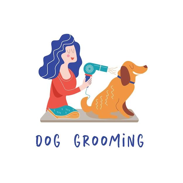 グルーマーサロンでかわいい犬女性が散髪犬を作る犬のグルーミングのコンセプト