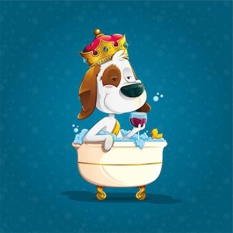 Симпатичная собака, купающаяся с короной в ванной
