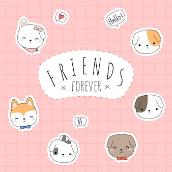 Cute dog best friends forever greeting cartoon doodle square card