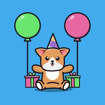 Cute dog birthday party with gift and balloon cartoon illustration