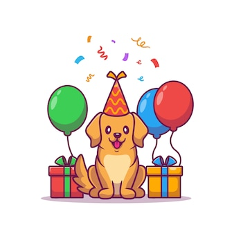 Cute dog birthday with gifts and balloons cartoon   illustration.