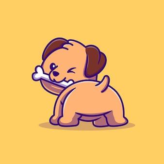 Cute dog bites bone cartoon vector icon illustration. animal nature icon concept isolated premium vector. flat cartoon style