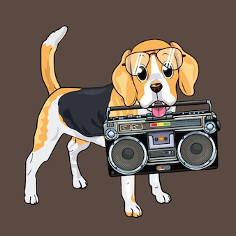 Cute dog biting a boombox