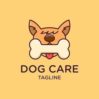 Дизайн иллюстрации логотипа cute dog bitting bone