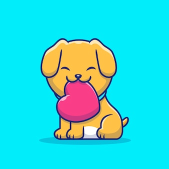 Cute dog bitting love cartoon   icon illustration. animal love icon concept isolated  . flat cartoon style
